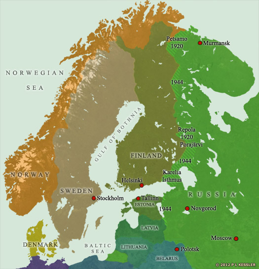 Map of Scandinavia AD 1917-1944