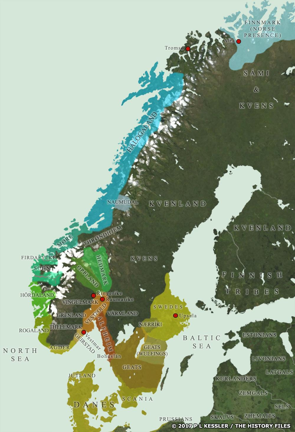 Map of Scandinavian Petty Kingdoms AD 800