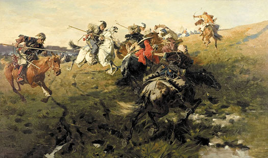 Crimean Tartars fight Cossacks