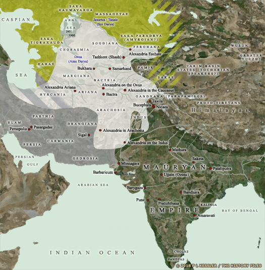 Map of Bactria and India 200 BC