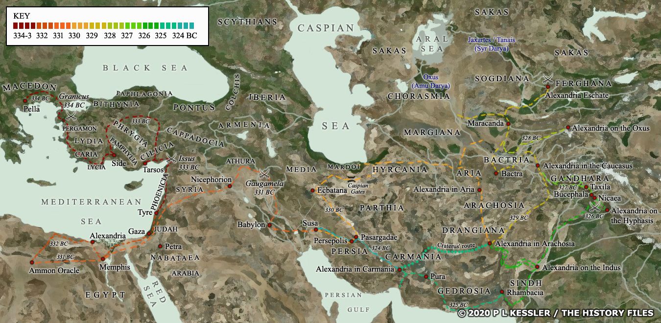 Map of Central Asia & Eastern Mediterranean 334-323 BC