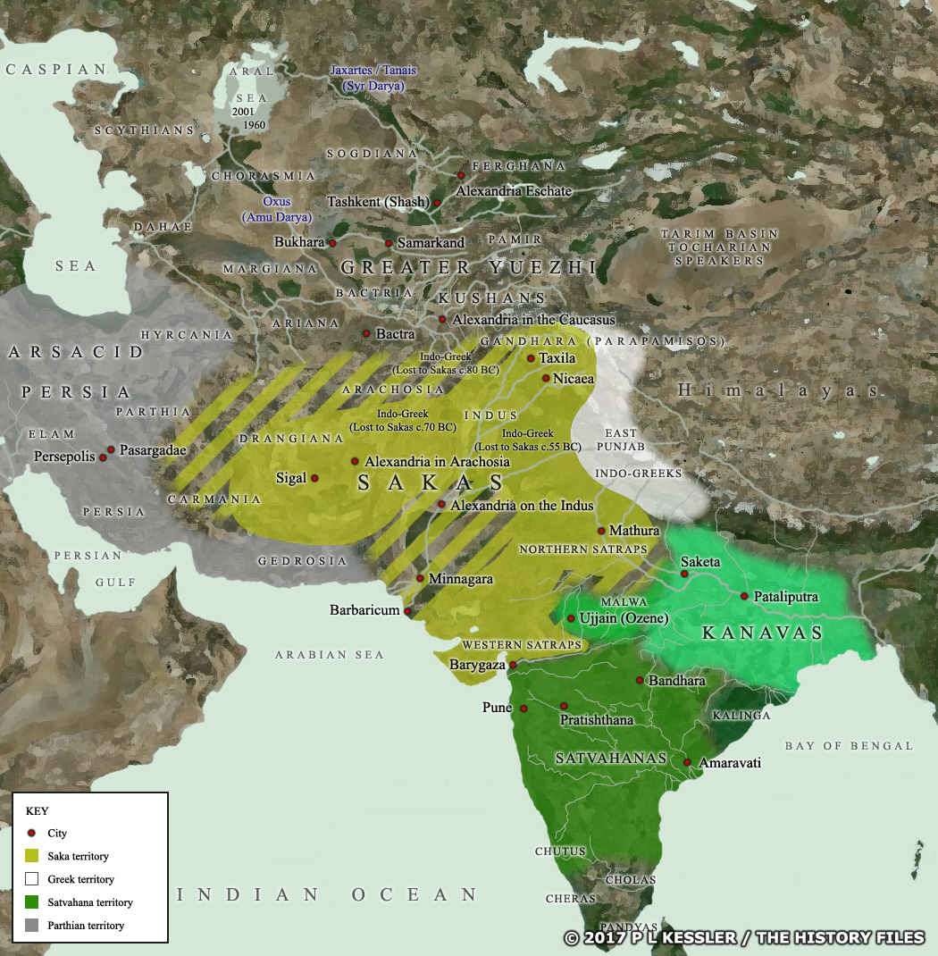Map of Central Asia and India c.50 BC