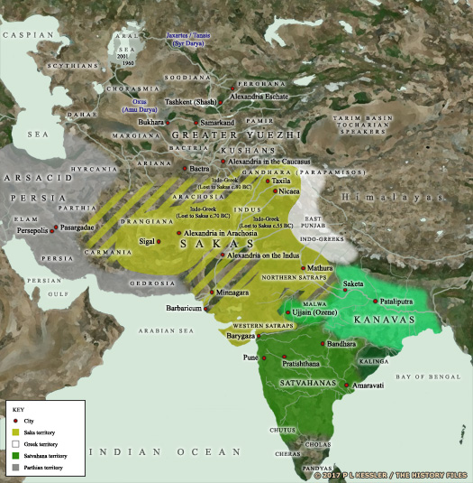 Map of Central Asia & India c.50 BC