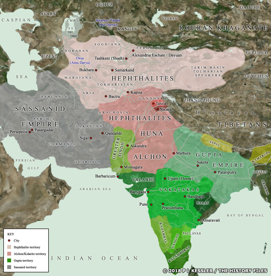 Map of Central Asia and India AD 500