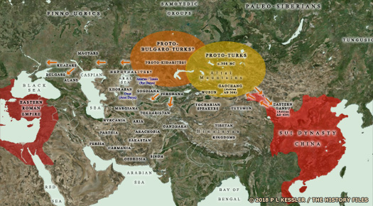 Map of Central Asia - Turkic Expansion AD 300-600