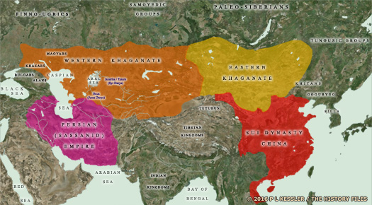 Map of Central Asia AD 550-600