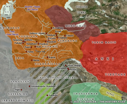 Map of Central Asia AD 600-700