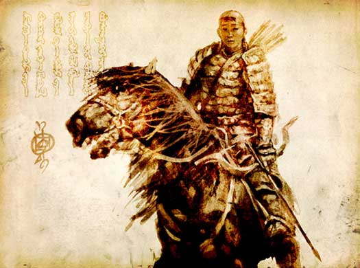 Mongol warrior print