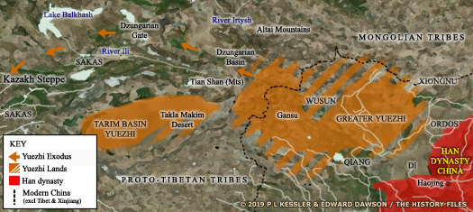 Map of the Yuezhi lands and exodus route
