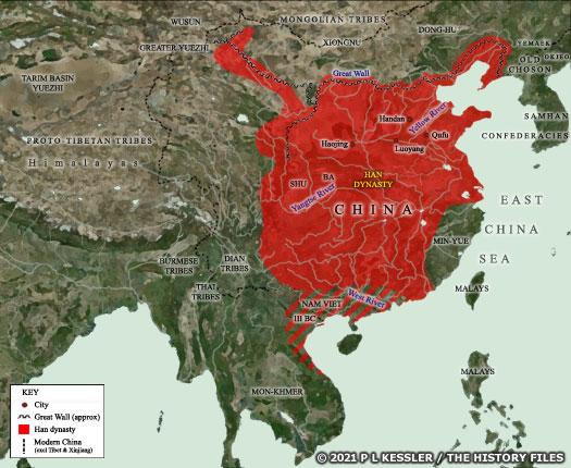 Map of Early Han (Western) China c.200 BC