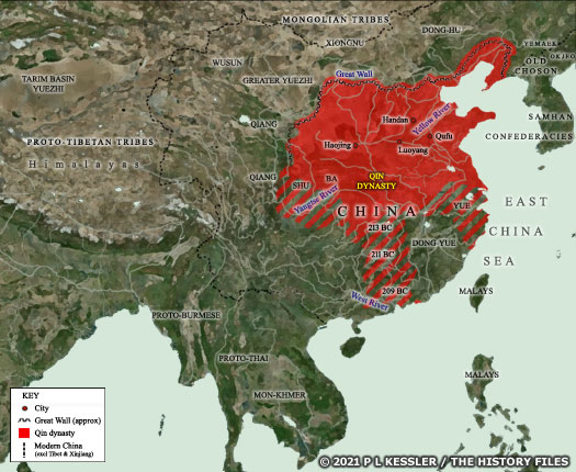 Map of Qin China 221-209 BC