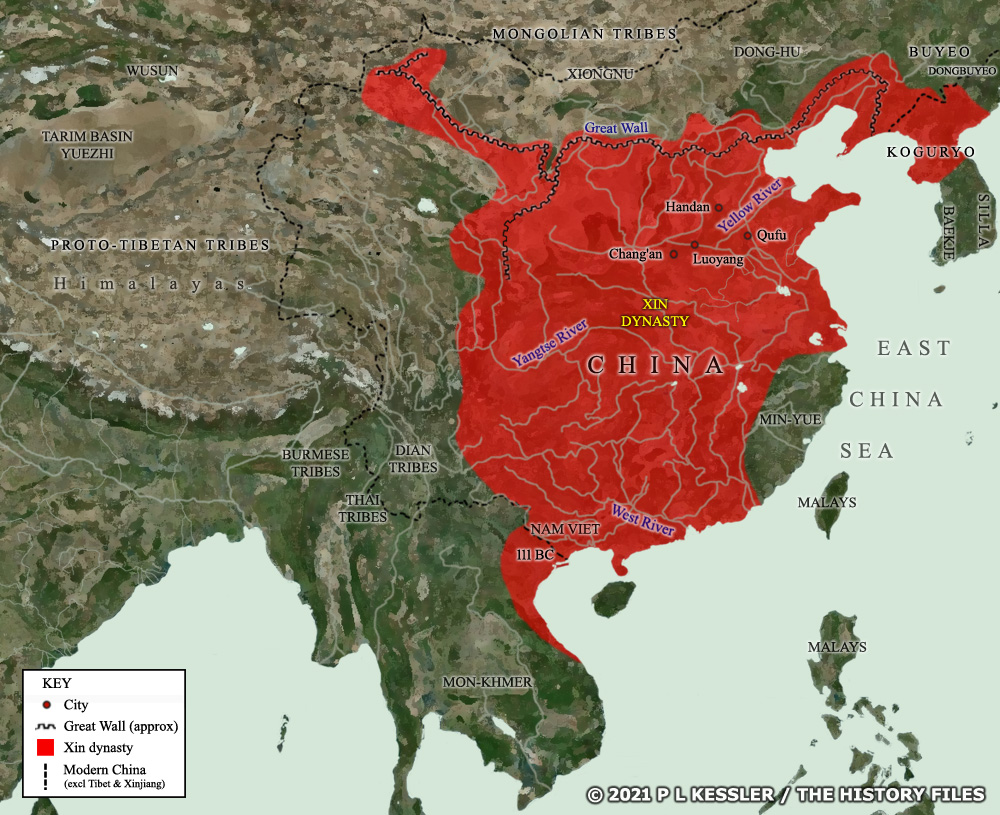 A map of Xin China around AD 9-23