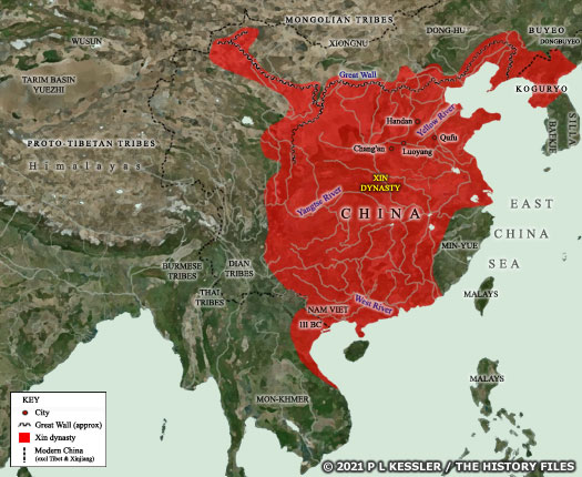 Map of Xin China c.AD 9-23