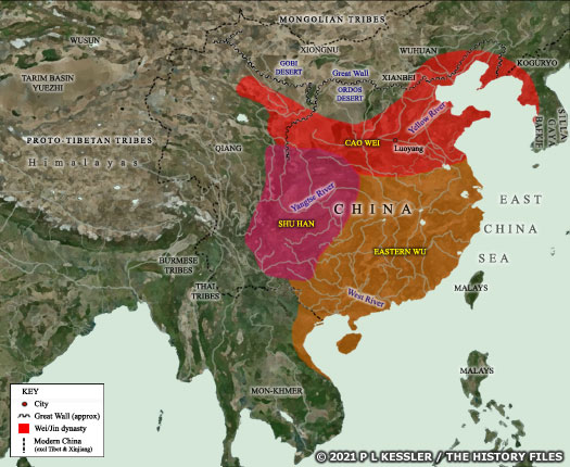 Map of Three Kingdoms China AD 220-263