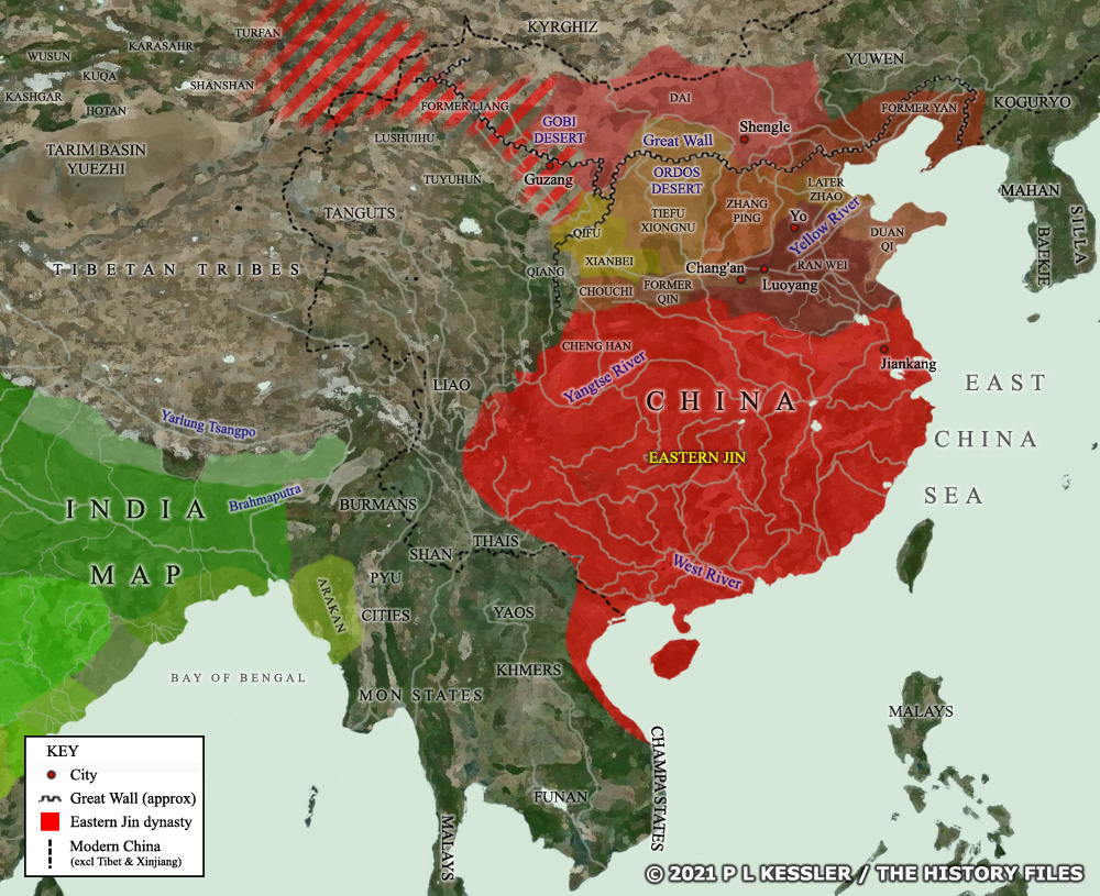 A map of Sixteen Kingdoms China around AD 350