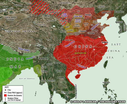 Map of Sixten Kingdoms China AD 350