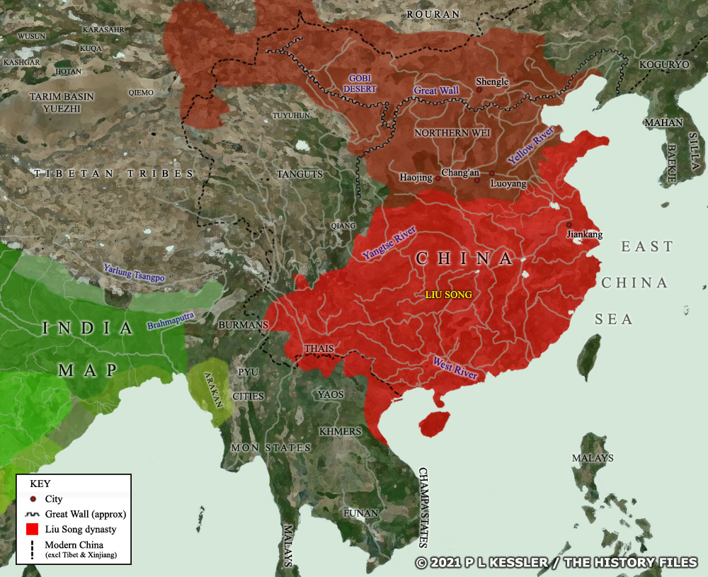 A map of Northern & Southern Kingdoms China around AD 460