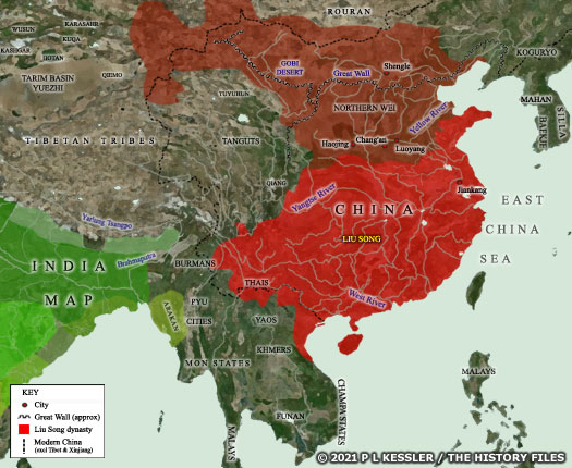 Map of Northern & Southern China AD 460