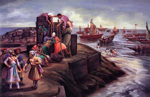 Shivaji and his naval forts