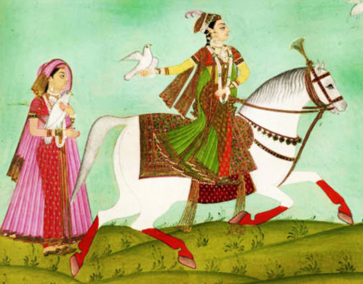 Regent Chand Bibi on horseback
