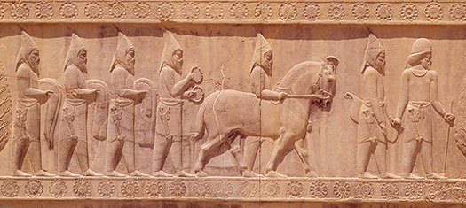 Sakas on a frieze at Persepolis
