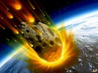 Artist's impression of meteor entering the atmosphere