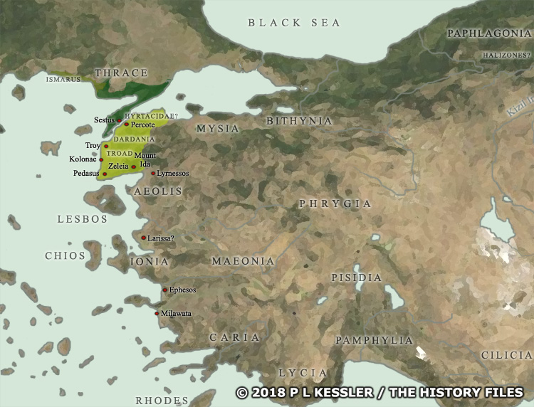Map of Anatolia at the time of the Trojan War