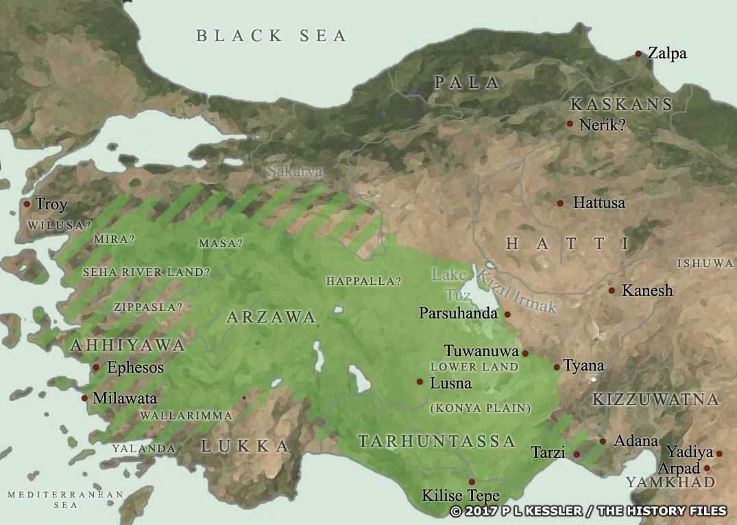 Map of Ancient Anatolia c.1450 BC