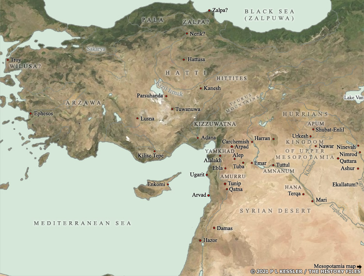 Map of Ancient Anatolia, Syria, and Upper Mesopotamia