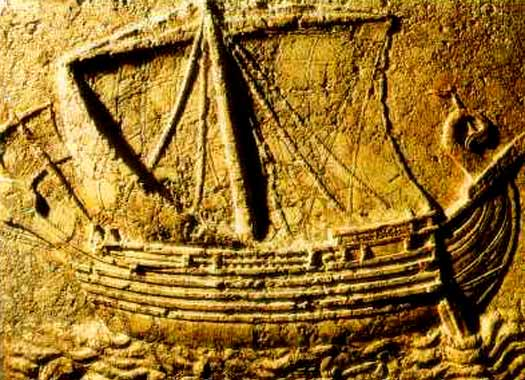 Stone carving of Phoenician ship