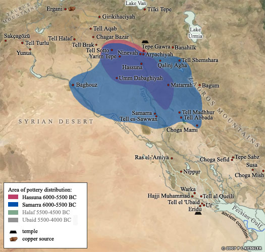 Map of the Samarra Culture in Mesopotamia