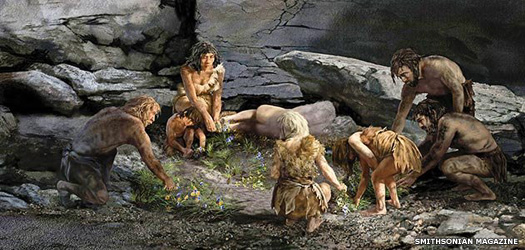 Neanderthals picking flowers for the dead