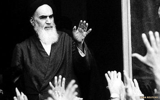 Ayatollah Khomeini addresses the crowd in Tehran