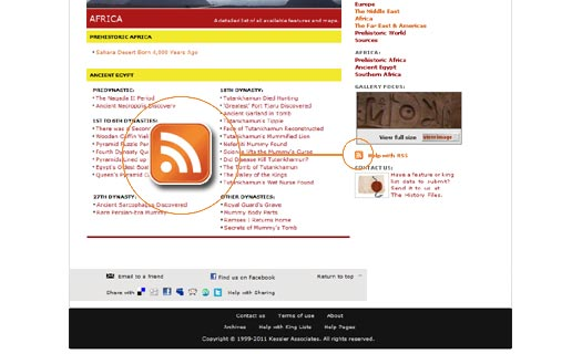 RSS icon on The History Files index page