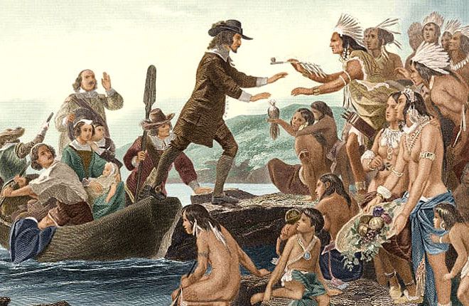 The Narragansett people of Rhode Island meet Pilgrim settlers